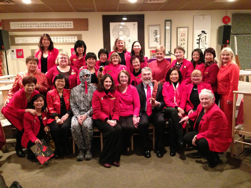 Victoria's Chinatown Lioness Club group photo with local historian John Adams (centre, front row) at the annual Chinatown Lioness spring festival banquet, 2013. Charlayne  Thornton-Joe is third from left, second row. Photo courtesy of Charlayne Thornton-Joe.